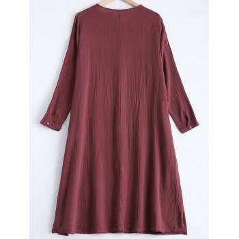 Embroidery Loose Dress - WINE RED WINE RED