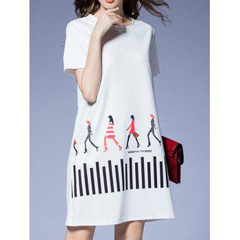 Striped Girl Pattern T-Shirt Dress