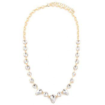 Faux Crystal Water Drop Necklace - GOLDEN GOLDEN