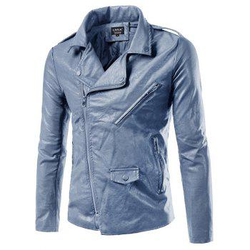Turn-Down Collar Zip-Up Epaulet Design PU-Leather Jacket - GRAY GRAY