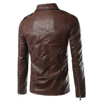Turn-Down Collar Zip-Up Epaulet Design PU-Leather Jacket - BROWN BROWN