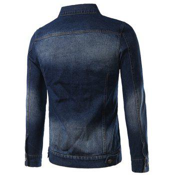 Turn-Down Collar Pockets Design Bleach Wash Denim Jacket - DEEP BLUE XL