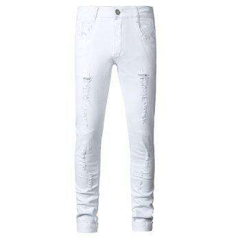 Plus Size Zipper Fly Narrow Feet Cat's Whisker Distressed Denim Pants - WHITE 31