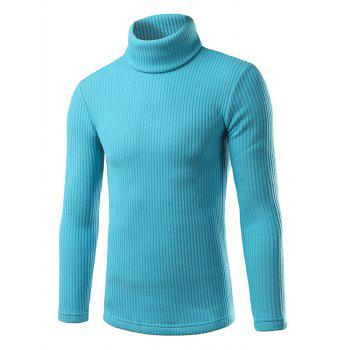Turtle Neck Long Sleeve Slimming Knitting Sweater - AZURE AZURE