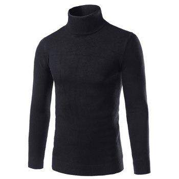 Turtle Neck Long Sleeve Slimming Sweater - BLACK 3XL
