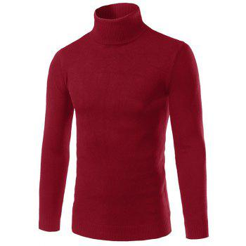 Turtle Neck Long Sleeve Slimming Sweater - WINE RED L
