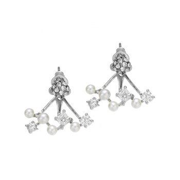 Rhinestone Ball Faux Pearl Earrings