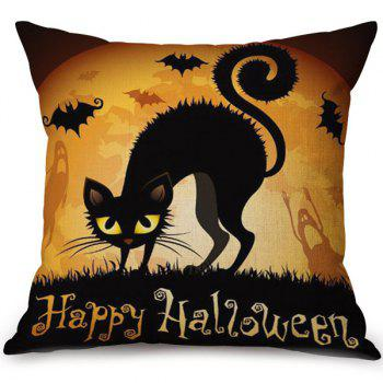 Decorative Soft Happy Halloween Cat Printed Pillow Case