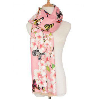 3D Butterfly and Peach Flower Print Shawl Scarf