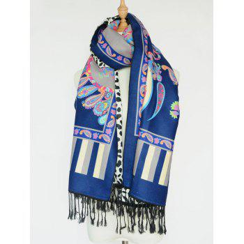 Ethnic Paisley and Leopard Pattern Tassel Shawl Scarf