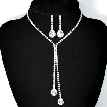 Rhinestone Teardrop Bolo Necklace Set