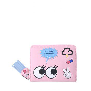 PU Leather Big Eyes Cartoon Small Wallet - PINK PINK