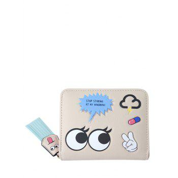 PU Leather Big Eyes Cartoon Small Wallet - LIGHT KHAKI LIGHT KHAKI