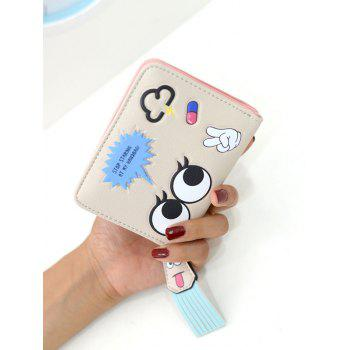 PU Leather Big Eyes Cartoon Small Wallet -  LIGHT KHAKI