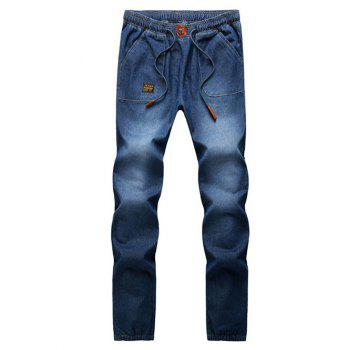 Drawstring Patch Embellished Elastic Cuffs Jeans
