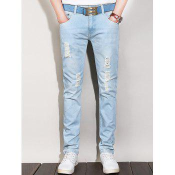 Narrow Feet Five-Pocket Zipper Fly Ripped Jeans