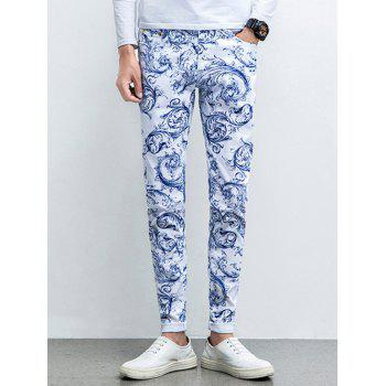 Zipper Fly Ornate Print Five-Pocket Tapered Jeans