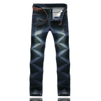 Five-Pocket Zipper Fly Scratched Jeans