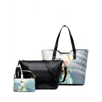 PU Leather Buckle Strap Painted Shoulder Bag