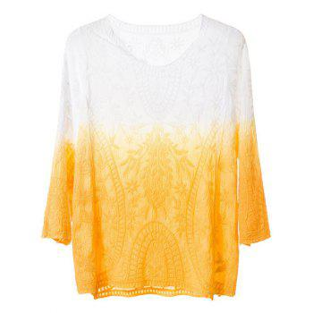 Embroidery Ombre Peasant Blouse