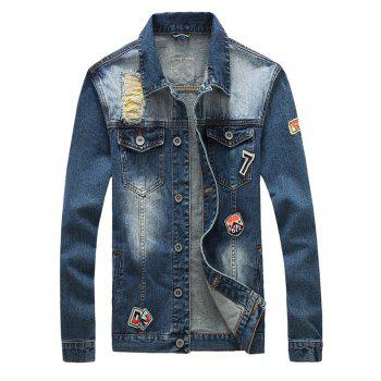 Button Up Pockets Front Patched Ripped Denim Jacket