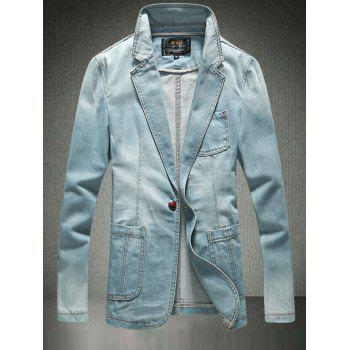 One-Button Breast Pocket Denim Jacket