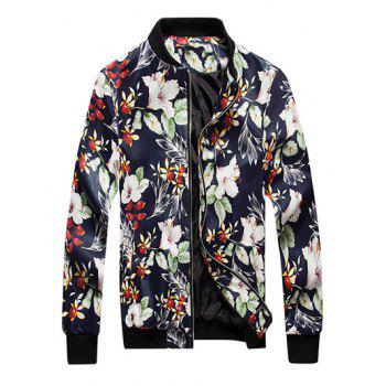 Zip Up Floral Print PU Leather Jacket