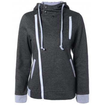 Asymmetrical Zip Hooded Casual Jacket