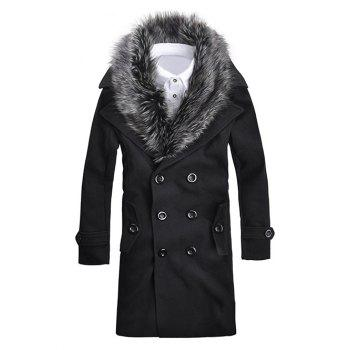 Button-tab Cuffs Fur Collar Wool Peacoat