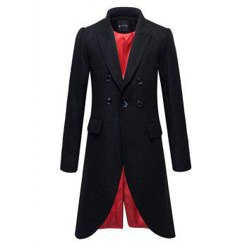 Button Embellished Flap Pocket Split Overcoat