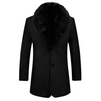 Single Breasted Detached Fur Collar Fleece Lined Coat