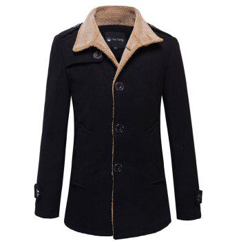 Epaulet Design Plush Lined Button-tab Cuffs Coat