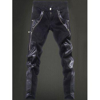 Narrow Feet Zippered Pocket Rivet Leather Paneled Pants