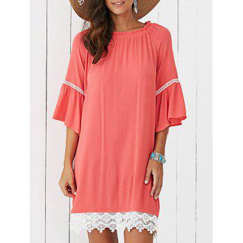 Buy Lace Splicing Flare Sleeve Dress JACINTH