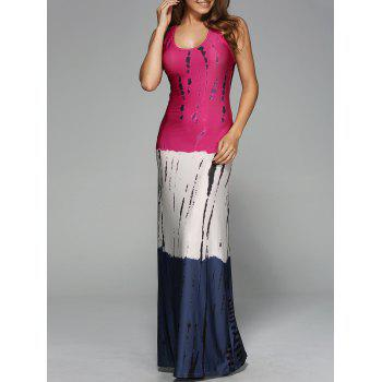 Stripes Ombre Casual Fitted Maxi Tank Dress