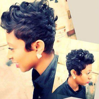 Short Pixie Cut Curly Fluffy Human Hair Capless Wig