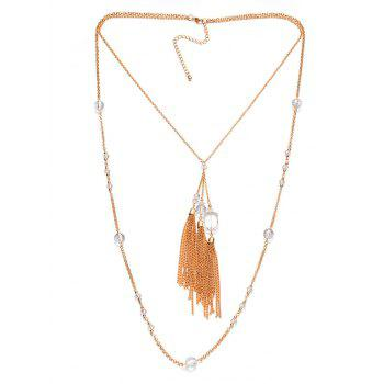 Faux Crystal Layered Fringe Bolo Sweater Chain