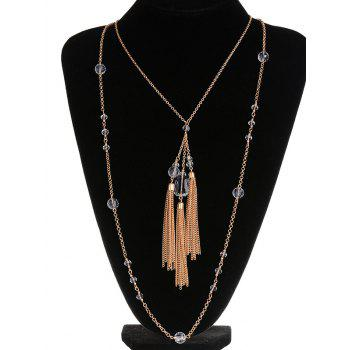 Faux cristal Layered Fringe Bolo Pull Chain - Cuivre