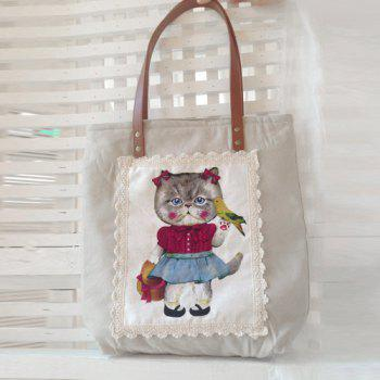 Lace Cartoon Print Tote
