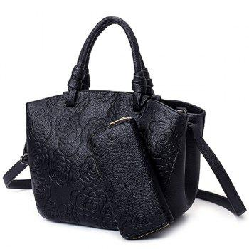 Flower Pattern PU Leather Embossing Tote Bag