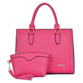 PU Leather Metal Stitching Tote Bag - ROSE RED ROSE RED