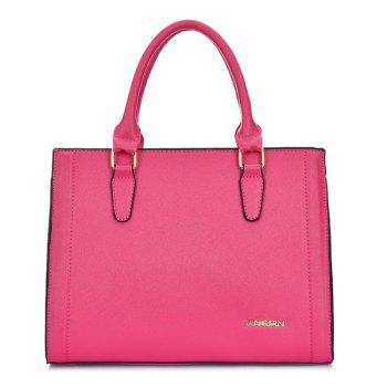 PU Leather Metal Stitching Tote Bag -  ROSE RED