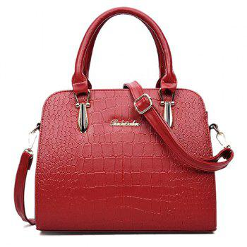 Zipper Metal Embossed Tote Bag - RED RED