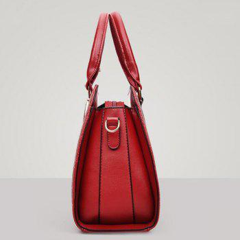 Zipper Metal Embossed Tote Bag -  RED
