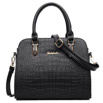 Zipper Metal Embossed Tote Bag - BLACK BLACK