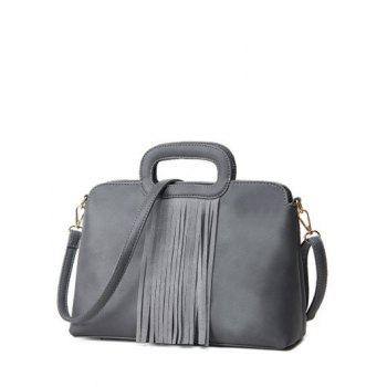 PU Leather Metal Fringe Tote Bag - GRAY GRAY