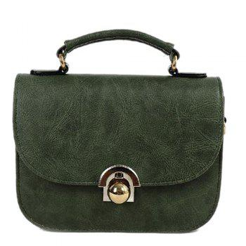 Metal PU Leather Covered Closure Crossbody Bag - ARMY GREEN ARMY GREEN