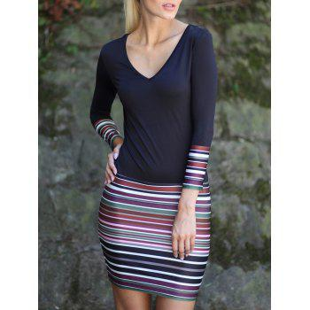 Stripe Spliced V-Neck Long Sleeve Dress - BLACK 2XL