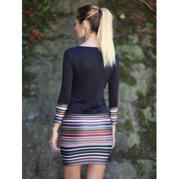 Stripe Spliced V-Neck Long Sleeve Dress - 2XL 2XL