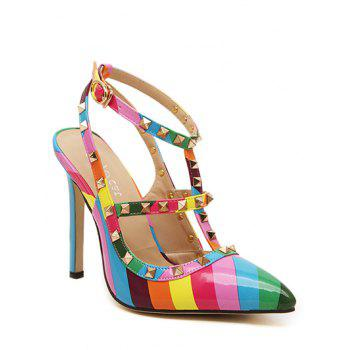 Rivets Colour Block  Striped Pattern Pumps